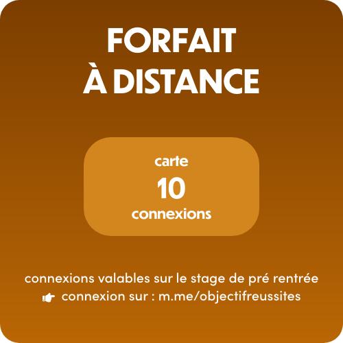 Objectif:Réussites - Stage de Pré rentrée - Carte 10 connexions