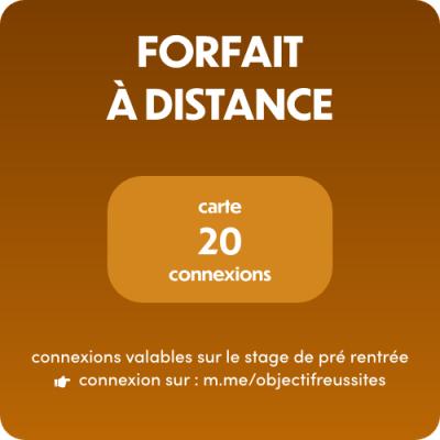 Objectif:Réussites - Stage de Pré rentrée - Carte 20 connexions